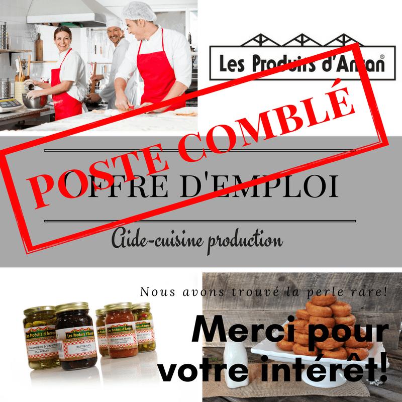 Offre D Emploi Aide Cuisine A La Production Des Produits D